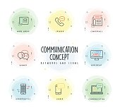 Communication Line Icon Set with Watercolor Patch