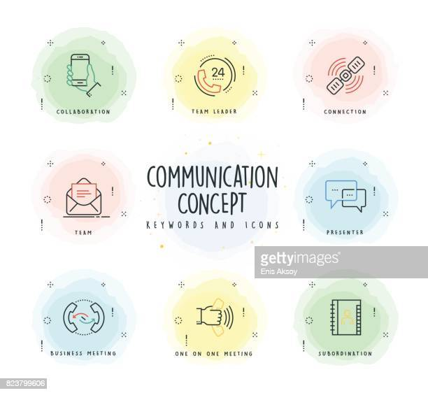 communication line icon set with watercolor patch - answering machine stock illustrations, clip art, cartoons, & icons