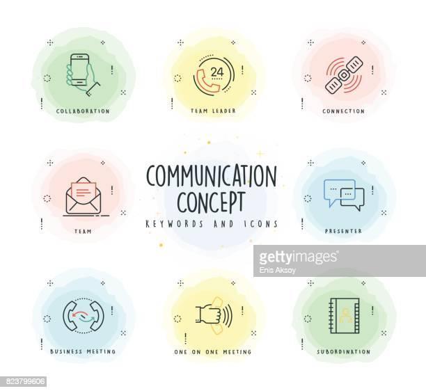 illustrazioni stock, clip art, cartoni animati e icone di tendenza di icona linea di comunicazione impostata con patch acquerello - call center