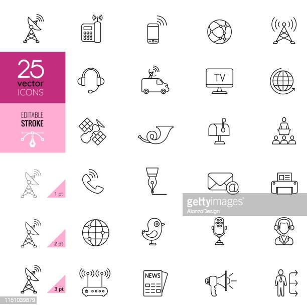communication line icons. editable stroke. - communications tower stock illustrations