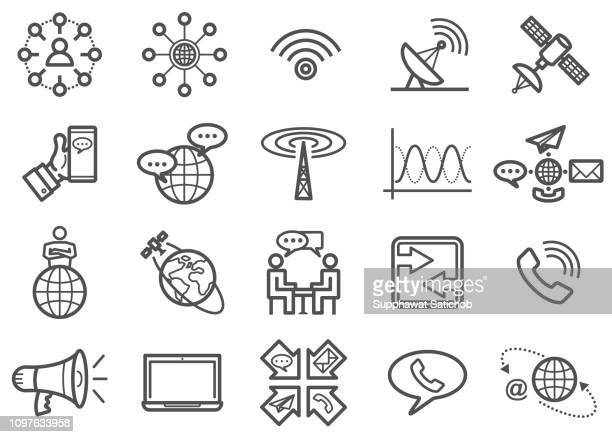 communication line icons set - receiver stock illustrations