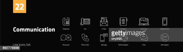 Communication Line Icons Set