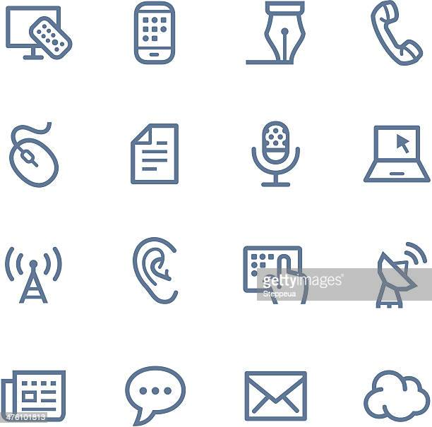 bildbanksillustrationer, clip art samt tecknat material och ikoner med communication line icons - tv program