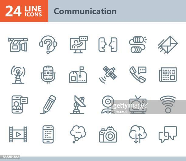 communication - line vector icons - microphone transmission stock illustrations