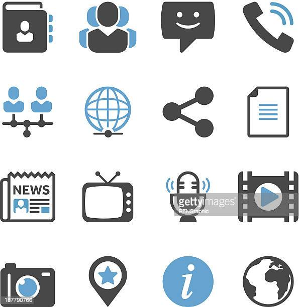 communication & media icon set | concise series - information symbol stock illustrations, clip art, cartoons, & icons