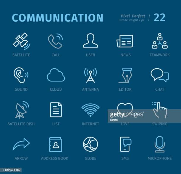 Communication - Outline icons with captions