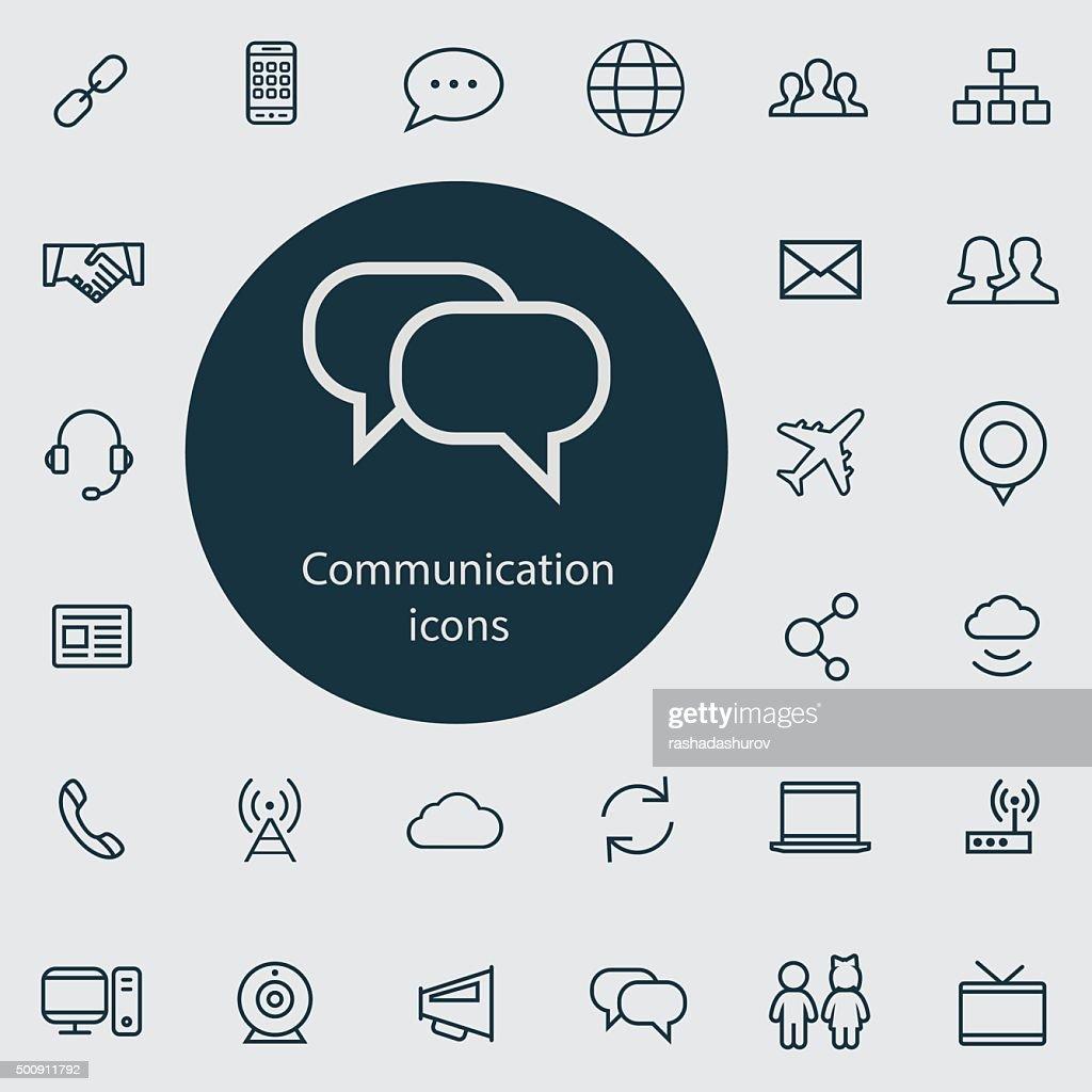 communication outline, thin, flat, digital icon set