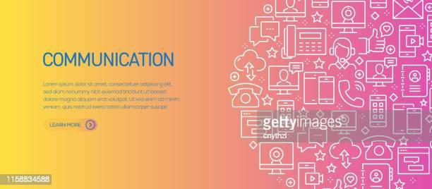 illustrations, cliparts, dessins animés et icônes de modèle de bannière lié à la communication avec des icônes de ligne. illustration moderne de vecteur pour la publicité, l'en-tête, le site web. - panoramique