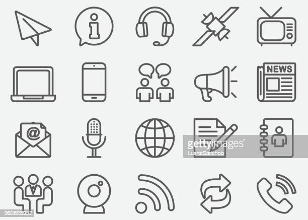 communication & social line icons - mobile phone stock illustrations