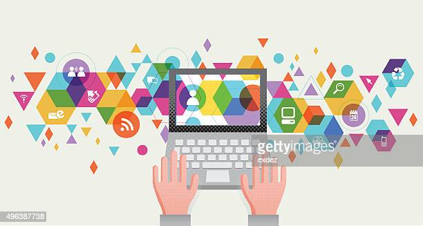 communication tech design - the internet stock illustrations, clip art, cartoons, & icons