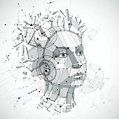 Communication technology 3d vector background made with engineering draft elements and mechanism parts, science subject. Low poly illustration of human head full of thoughts, intelligence allegory.