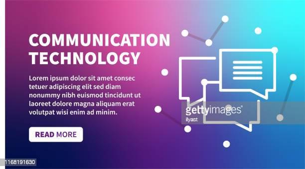 kommunikationstechnologie banner auf holographischem farbverlaufshintergrund - sprechblase für internetchat stock-grafiken, -clipart, -cartoons und -symbole