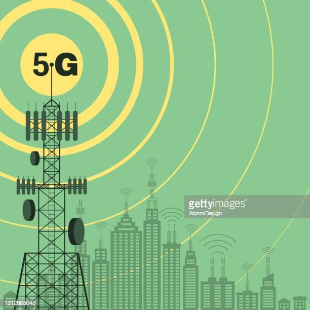 5g communication technology concept design. - tower stock illustrations