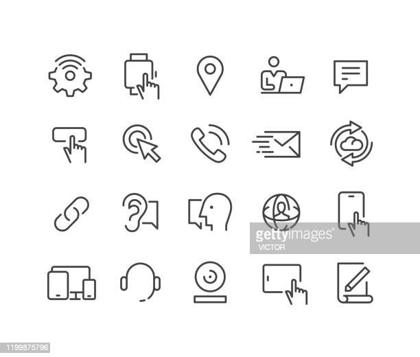 communication technology - icons - classic line series - webcam media apparaat stock illustrations