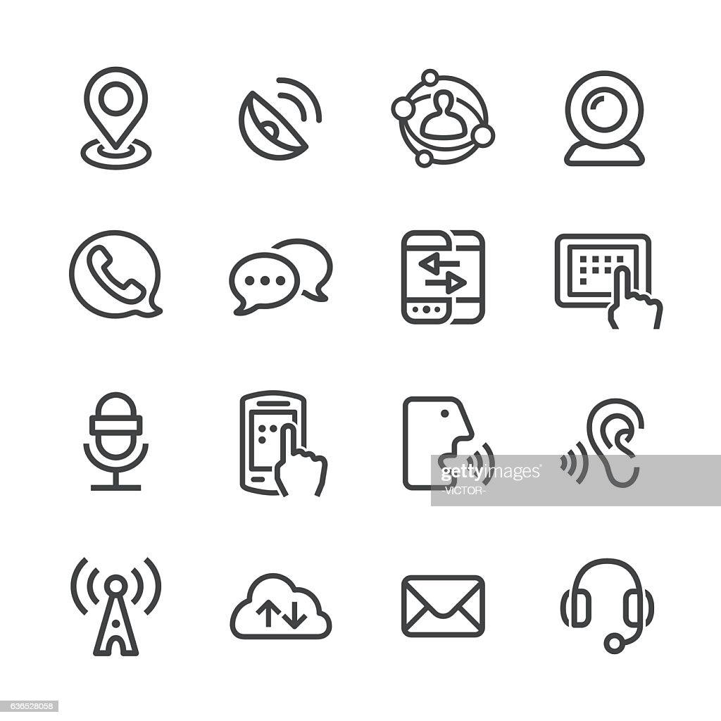 通信技術アイコン - ラインシリーズ : ストックイラストレーション