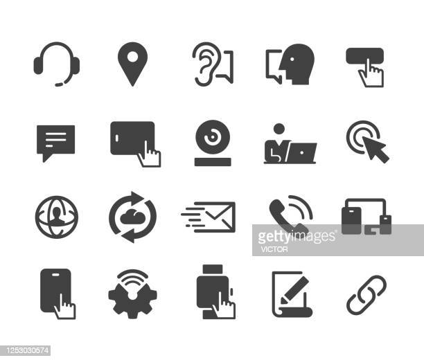 communication technology icons set - classic series - webcam media apparaat stock illustrations