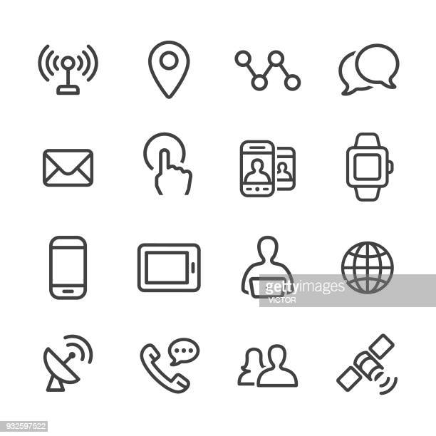 communication technology icons set - line series - connection stock illustrations