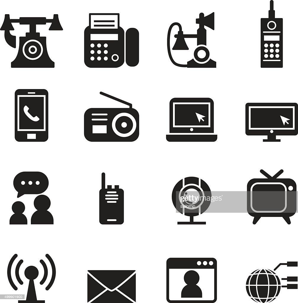 Communication Technology icons set Vector