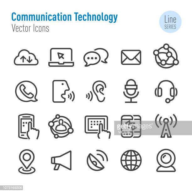 communication technology icons - vector line series - webcam media apparaat stock illustrations
