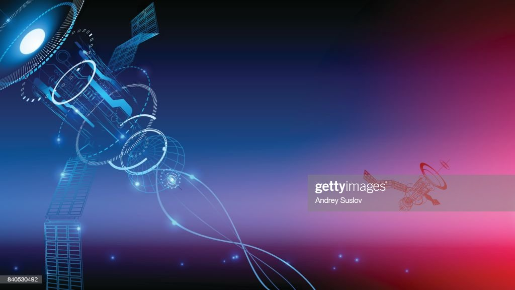 Communication technology. Wireframe background. The satellite transmits the signal from space to earth. technological abstraction. VECTOR
