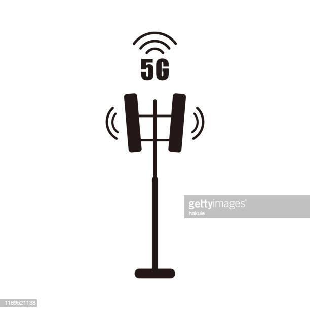 communication tower icon, vector illustration - communications tower stock illustrations