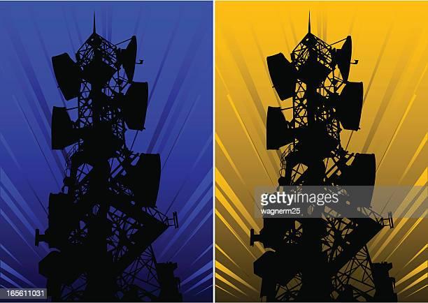 communication tower ii - antenna aerial stock illustrations, clip art, cartoons, & icons