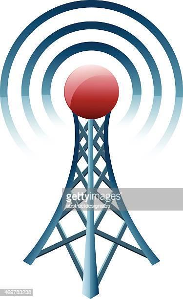 ilustraciones, imágenes clip art, dibujos animados e iconos de stock de torre de comunicación - torres de telecomunicaciones