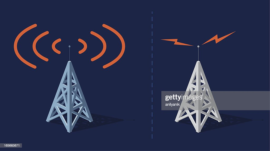 Two sets of animated radio towers sending orange frequencies