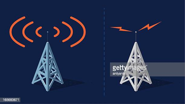 communication towers - television industry stock illustrations