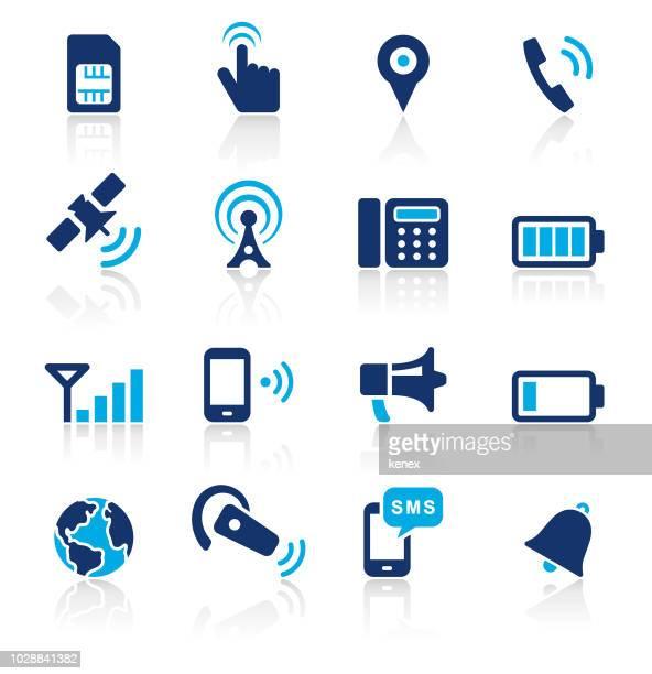 ilustraciones, imágenes clip art, dibujos animados e iconos de stock de comunicación dos color icons set - torresdetelecomunicaciones