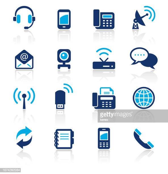 illustrazioni stock, clip art, cartoni animati e icone di tendenza di comunicazione due icone colore set - organizzatore elettronico