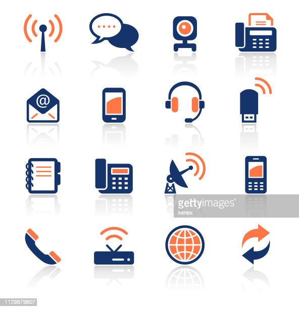 communication two color icons set - telephone receiver stock illustrations