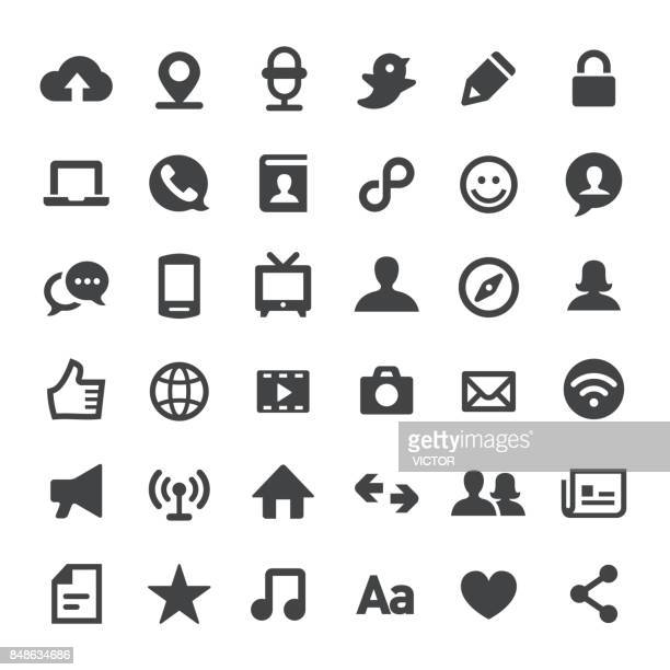 communication vector icons - video conference stock illustrations