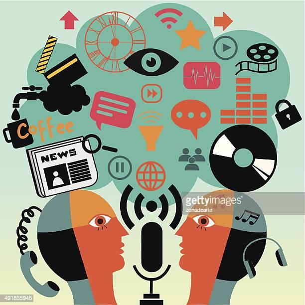 kommunikation - journalismus stock-grafiken, -clipart, -cartoons und -symbole