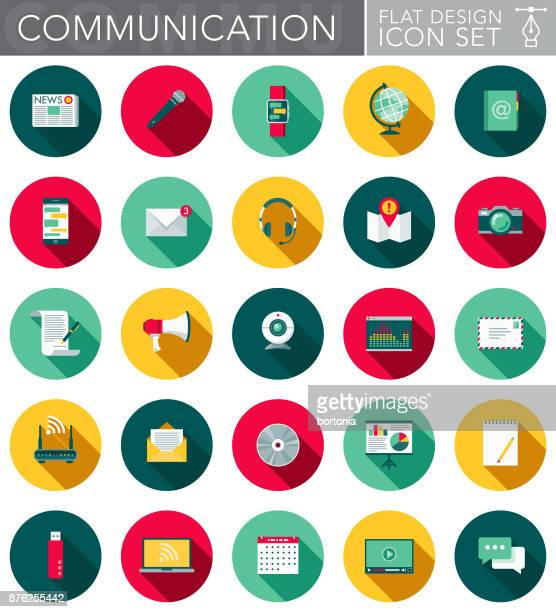 communications flat design icon set with side shadow - microphone transmission stock illustrations
