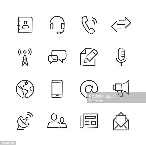 communications icons — sketchy series - address book stock illustrations