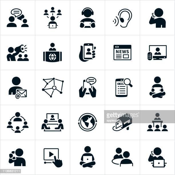 communications icons - journalism stock illustrations