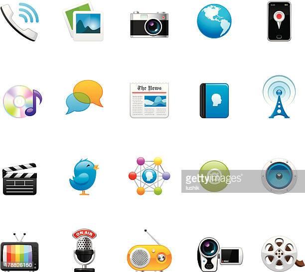 通信メディアのアイコンセット 4 - メディア機材点のイラスト素材/クリップアート素材/マンガ素材/アイコン素材
