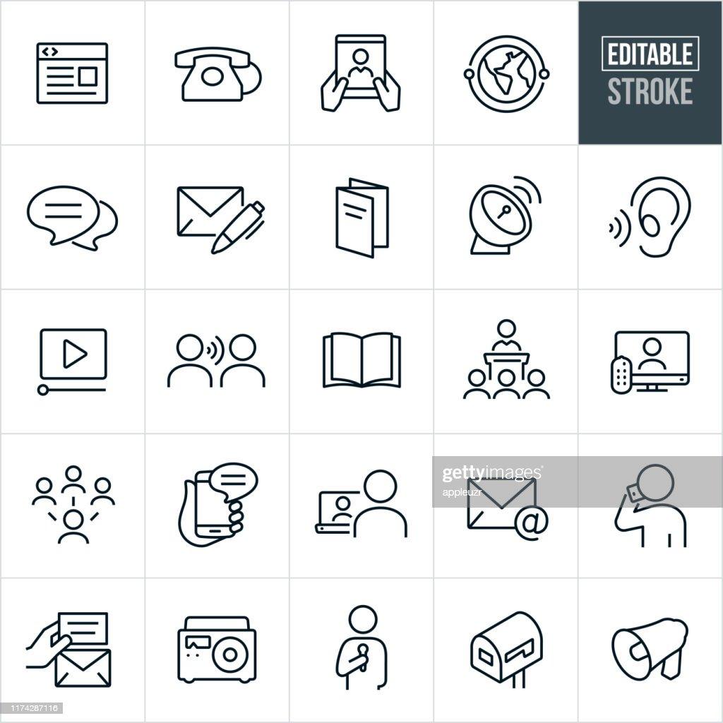 Icone delle comunicazioni a linea sottile - Tratto modificabile : Illustrazione stock