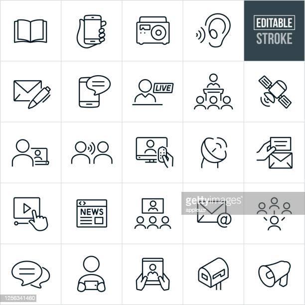 communications thin line icons - bearbeitbarer strich - nachrichtenereignis stock-grafiken, -clipart, -cartoons und -symbole