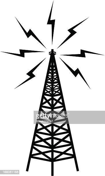 ilustraciones, imágenes clip art, dibujos animados e iconos de stock de torre de telecomunicaciones - torres de telecomunicaciones