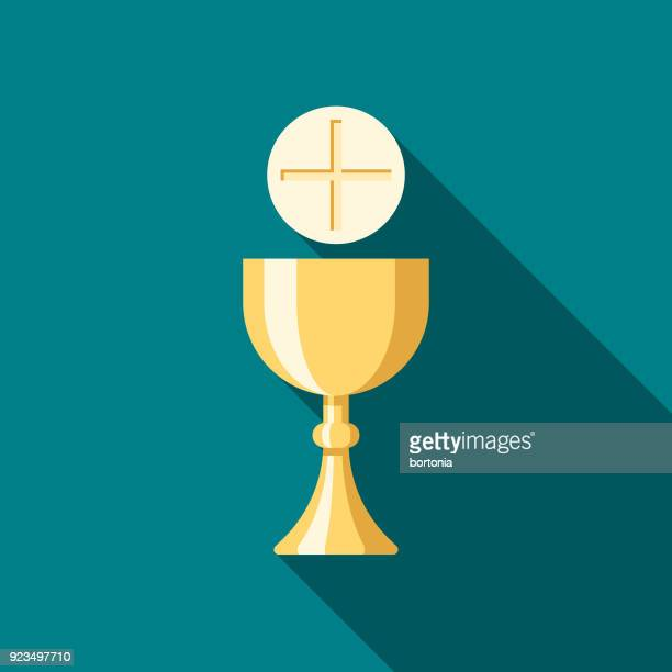 communion flat design easter icon with side shadow - easter sunday stock illustrations