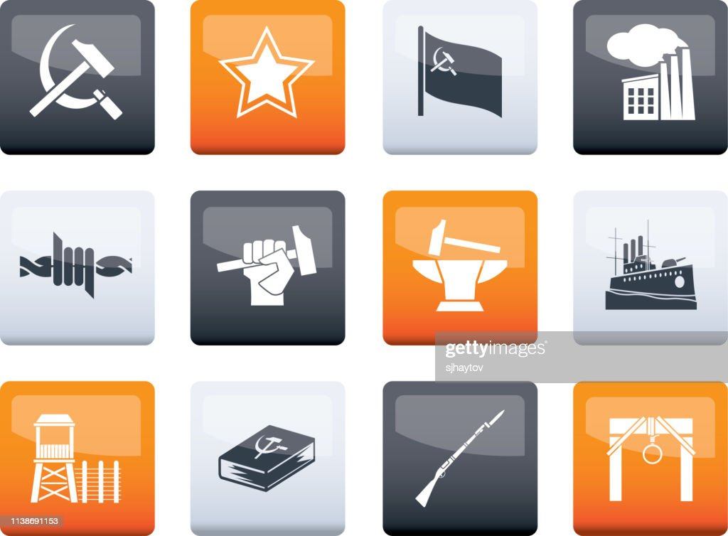 Communism, socialism and revolution icons over color background