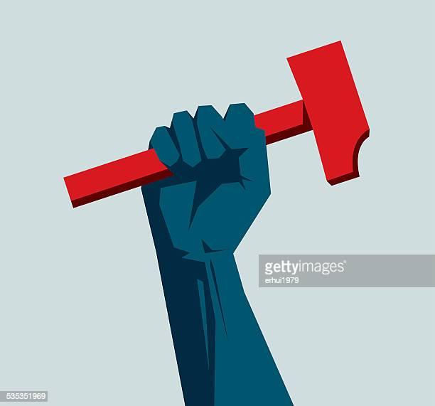 communism - mallet hand tool stock illustrations