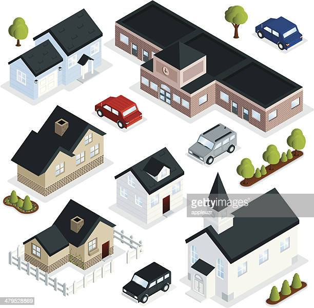 community buildings - land vehicle stock illustrations