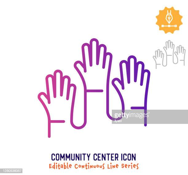 community centre continuous line editable icon - attending stock illustrations