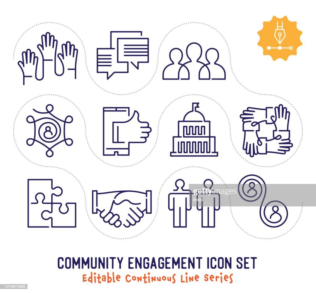 コミュニティエンゲージメント編集可能な連続回線アイコンパック : ストックイラストレーション