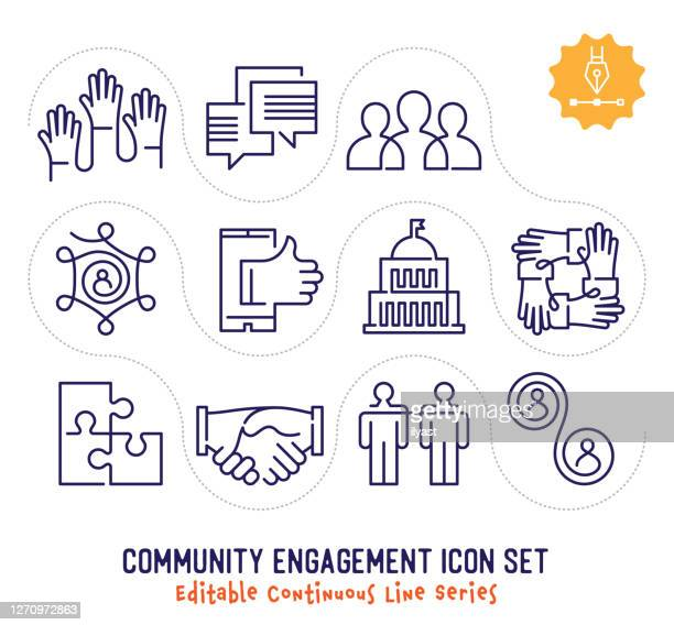 illustrazioni stock, clip art, cartoni animati e icone di tendenza di community engagement editable continuous line icon pack - fidanzato