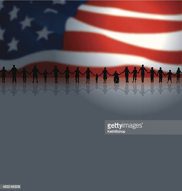 Community - Holding Hands Background with US Flag