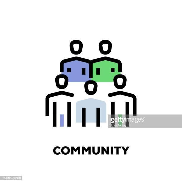 community line icon - sociology stock illustrations, clip art, cartoons, & icons